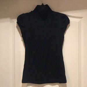 F21 black collared short sleeve top